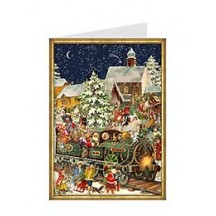 Victorian Christmas Train Advent Calendar Card ~ Germany