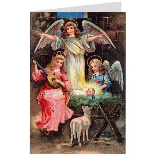 "Musical Angels Nativity Advent Calendar Card from Austria ~ 6-3/4"" x 4-1/2"""