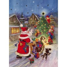 "Santa with Children Advent Calendar from Austria ~ 11-1/4"" x 8-1/4"""