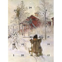 "Carl Larssons's Girl with Sleigh Advent Calendar from Austria ~ 11-1/4"" x 8-1/4"""