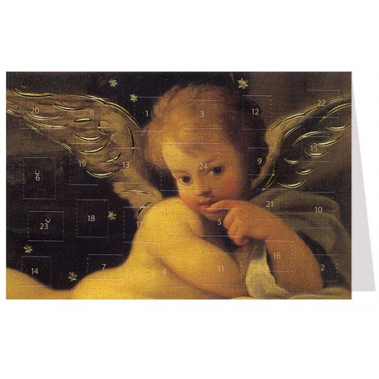 "Pensive Angel Advent Calendar Card from Austria ~ 6-3/4"" x 4-1/2"""