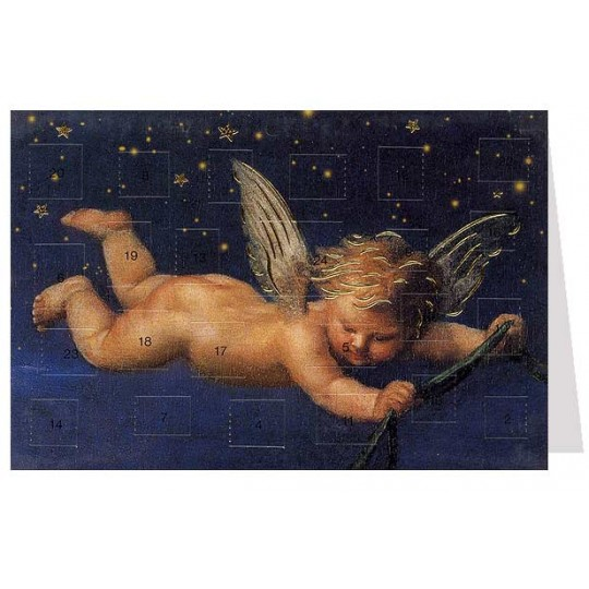 "Angel at Night Advent Calendar Card from Austria ~ 6-3/4"" x 4-1/2"""