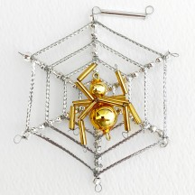 "Gold and Silver Glass Bead Spider Web Ornament ~ 3"" ~ Czech Republic"