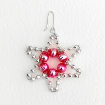 "Small Silver with Pink Glass Bead Star ~ 1-3/4"" ~ Czech Republic"