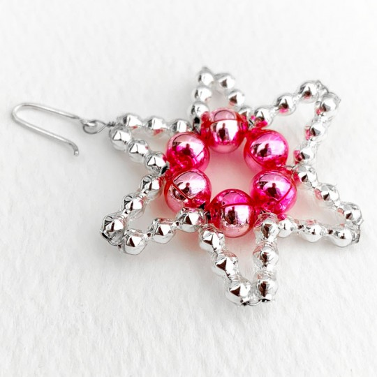 """Small Silver with Pink Glass Bead Star ~ 1-3/4"""" ~ Czech Republic"""