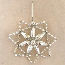 "Silver Glass Bead Floral Star Ornament ~ 3"" ~ Czech Republic"