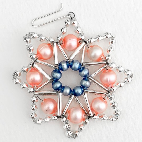 "Pastel and Silver Glass Bead Snow Star Ornament ~ 2-1/2"" ~ Czech Republic"