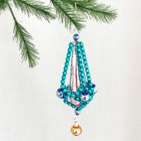 "Fancy Elaborate Faceted Drop Glass Bead Christmas Ornament ~ 4"" long ~ Czech Republic"