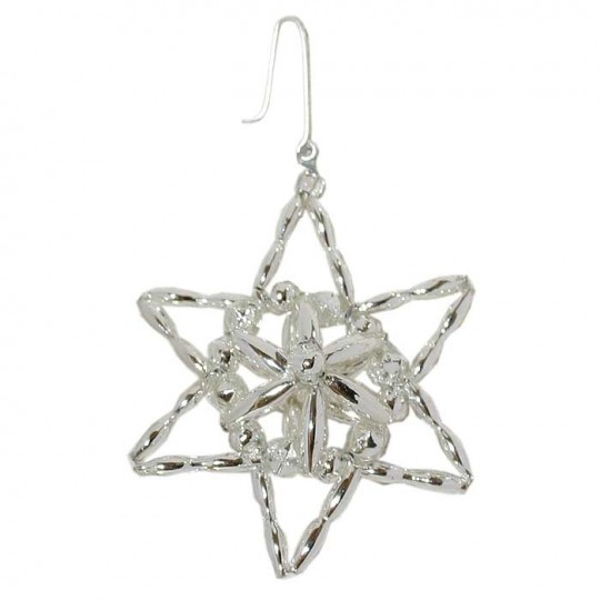 "Silver Fancy Star Glass Bead Ornament ~ 2-1/4"" ~ Czech Republic"