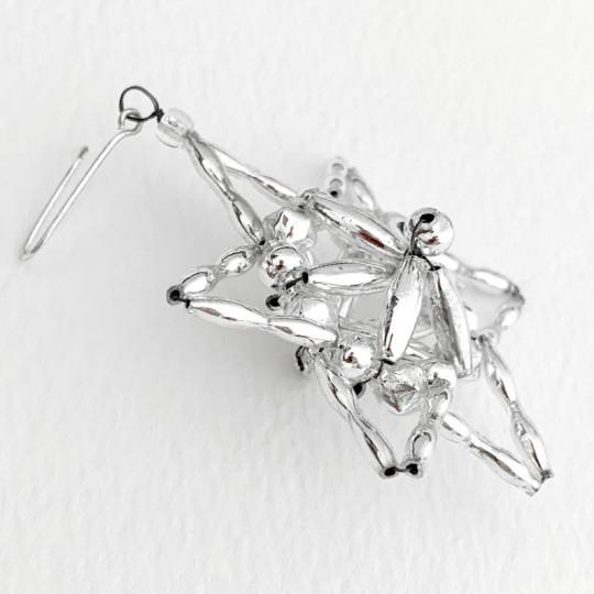 """Silver Fancy Star Glass Bead Ornament ~ 2-1/4"""" ~ Czech Republic"""