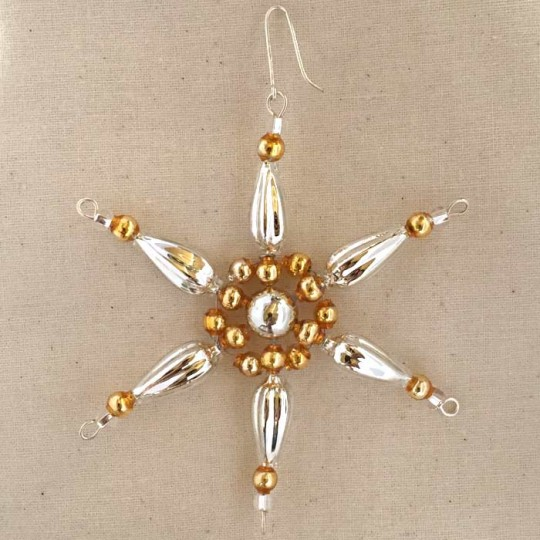 "Silver and Gold Glass Bead Pointed Star Ornament ~ 3-1/4"" ~ Czech Republic"