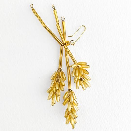 """Golden Wheat Beaded Ornament ~ 4-3/4"""" long ~ Czech Republic"""