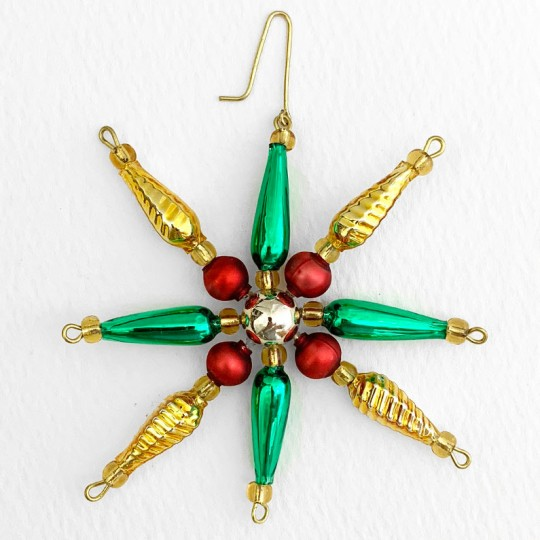 """Multi-colored Glass Bead Pointed Star Ornament ~ 3-1/4"""" ~ Czech Republic"""