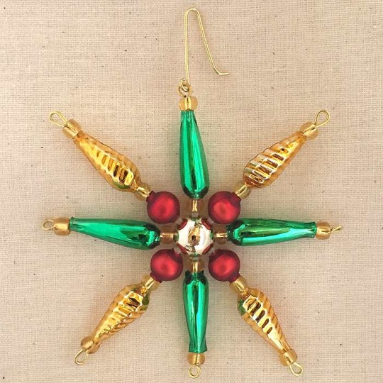 "Multi-colored Glass Bead Pointed Star Ornament ~ 3-1/4"" ~ Czech Republic"
