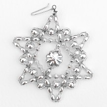 "Silver Glass Bead Bumpy Star Ornament ~ 3"" ~ Czech Republic"