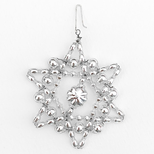 "Silver Glass Bead Bumpy Star Ornament ~ 3"" ~ Czech Republic"