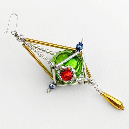 "Fancy Elaborate Drop Glass Bead Christmas Ornament ~ 4"" ~ Czech Republic"