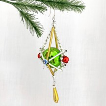 "Fancy Elaborate Drop Glass Bead Christmas Ornament ~ 4"" ~ Czech Republic"