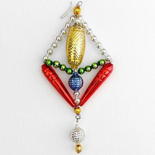 """Multi-colored Glass Bead Fantasy Ornament ~ 5"""" ~ Czech Republic"""