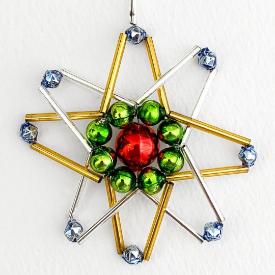 "Multi-colored Glass Bead Atomic Star Ornament ~ 3"" ~ Czech Republic"