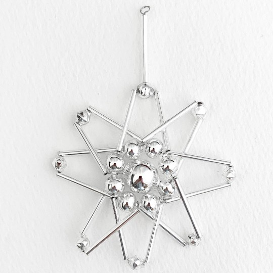 "Silver Glass Bead Atomic Star Ornament ~ 3"" ~ Czech Republic"
