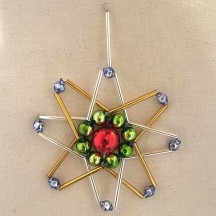 "Multi-colored Glass Bead Atomic Star Ornament ~ 3"" ~ Czech Republic"