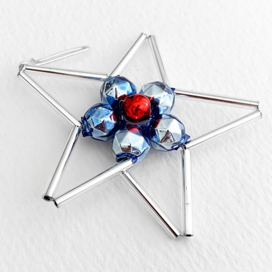 "Openwork Blue and Silver Glass Bead Star ~ 2-1/4"" ~ Czech Republic"