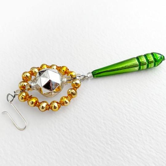 "Fancy Faceted Drop Glass Bead Christmas Ornament ~ 4"" ~ Czech Republic"