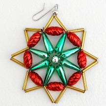 "Multi-colored Glass Bead Star Ornament ~ 2-3/4"" ~ Czech Republic"