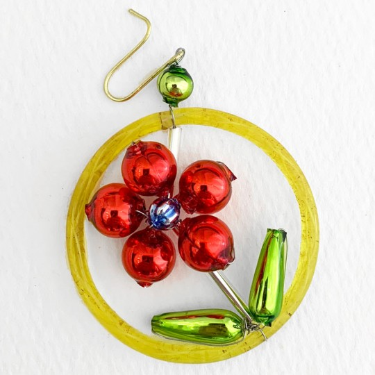 """Red Flower in Ring Glass Bead Ornament ~ 2"""" ~ Czech Republic"""