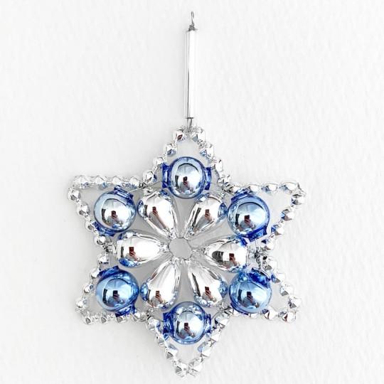 "Silver and Blue Glass Bead Flower Star Ornament ~ 2-1/2"" ~ Czech Republic"