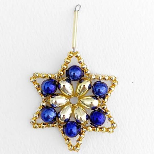 """Gold and Blue Glass Bead Flower Star Ornament ~ 2-1/2"""" ~ Czech Republic"""