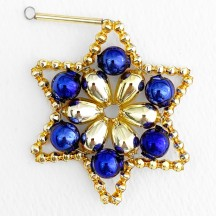 "Gold and Blue Glass Bead Flower Star Ornament ~ 2-1/2"" ~ Czech Republic"