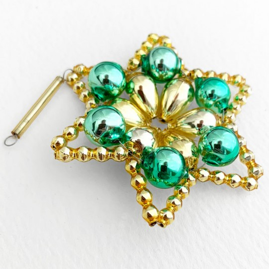 "Bright Green and Gold Glass Bead Flower Star Ornament ~ 2-1/2"" ~ Czech Republic"