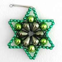 "Dark Green Glass Bead Flower Star Ornament ~ 2-1/2"" ~ Czech Republic"