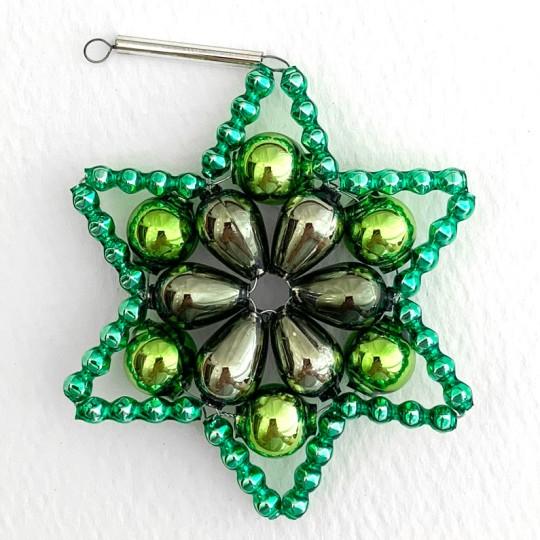 """Dark Green Glass Bead Flower Star Ornament ~ 2-1/2"""" ~ Czech Republic"""