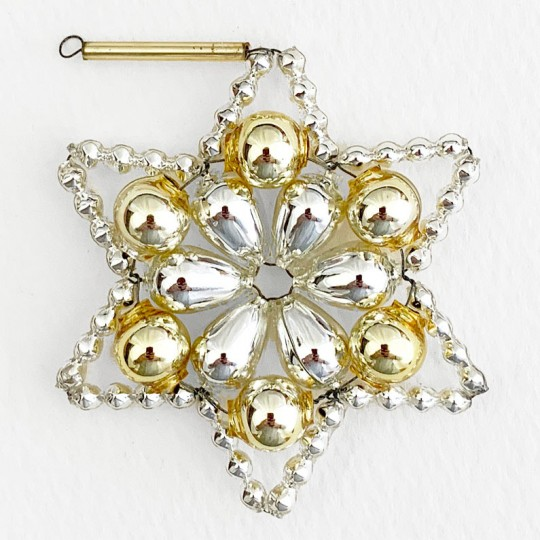 """Silver and Pale Gold Glass Bead Flower Star Ornament ~ 2-1/2"""" ~ Czech Republic"""