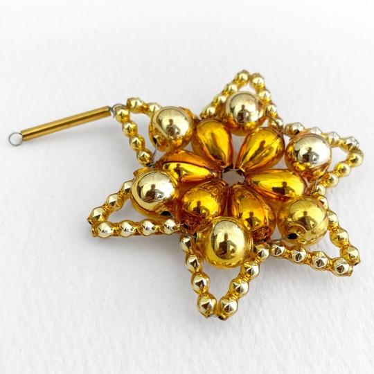 "Two-tone Gold Glass Bead Flower Star Ornament ~ 2-1/2"" ~ Czech Republic"