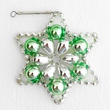 "Silver and Pale Green Glass Bead Flower Star Ornament ~ 2-1/2"" ~ Czech Republic"