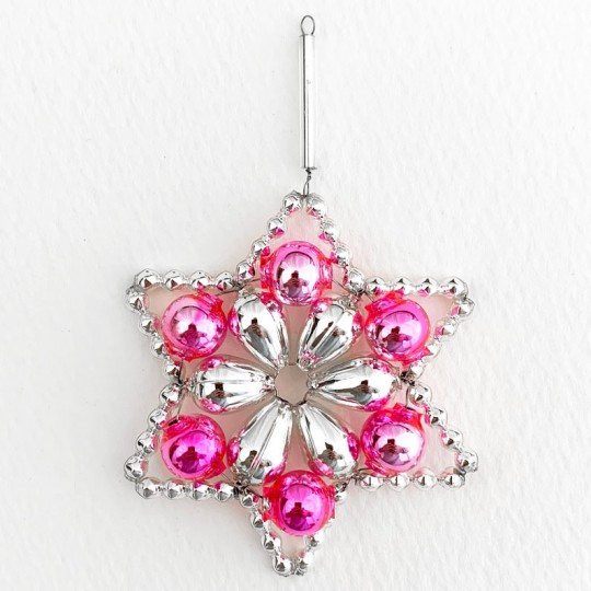 "Silver and Pink Glass Bead Flower Star Ornament ~ 2-1/2"" ~ Czech Republic"