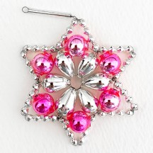 "Silver and Pink Glass Bead Flower Star Ornament ~ 2-1/2"" ~ Czech Republic"