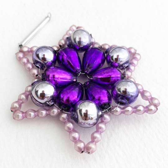 "Purple Glass Bead Flower Star Ornament ~ 2-1/2"" ~ Czech Republic"