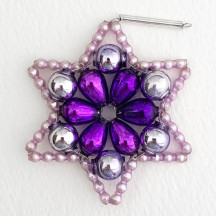 "Purple Glass Bead Flower Star Ornament ~ 2-1/2"" ~ Czech Republic"
