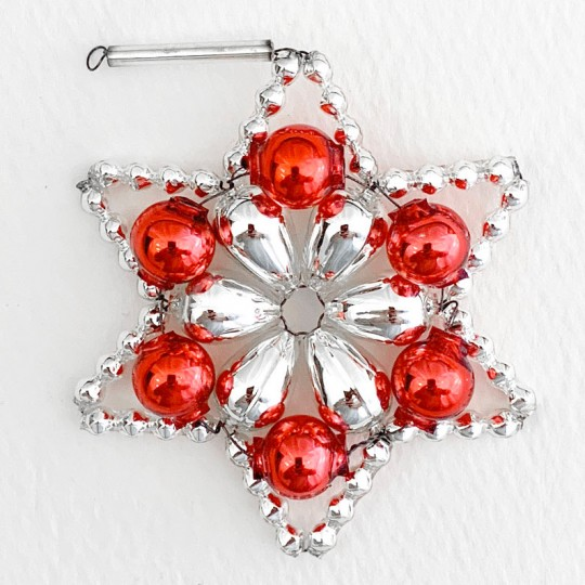 """Silver and Red Glass Bead Flower Star Ornament ~ 2-1/2"""" ~ Czech Republic"""