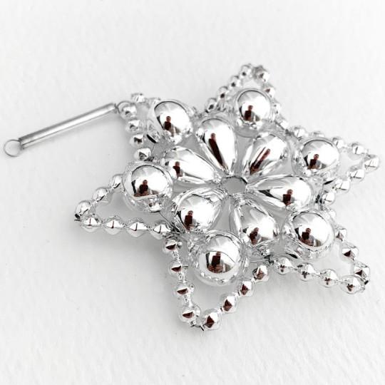 """Silver Glass Bead Flower Star Ornament ~ 2-1/2"""" ~ Czech Republic"""