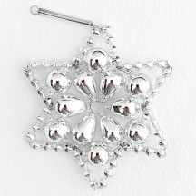 "Silver Glass Bead Flower Star Ornament ~ 2-1/2"" ~ Czech Republic"