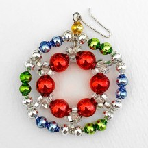 "Multi-colored Glass Bead Ornament ~ 2-1/8"" ~ Czech Republic"