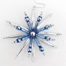 "Silver and Blue Starburst Glass Bead Ornament ~ 3-1/2"" ~ Czech Republic"