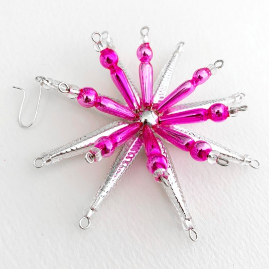 "Silver and Pink Starburst Glass Bead Ornament ~ 3-1/2"" ~ Czech Republic"