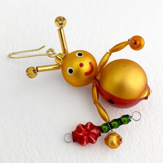 "Beaded Little Ladybug Ornament ~ 2"" ~ Czech Republic"